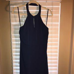 Navy Halter Flounce Dress